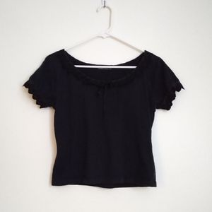 Bossini Ladies Black Crop Top Short Sleeve Lace